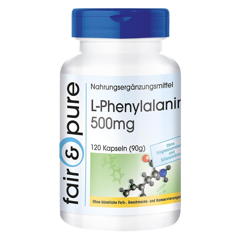 500 mg de L-fenilalanina - vegano - 120 cápsulas - fabricado en Alemania: Amazon.es: Salud y cuidado personal