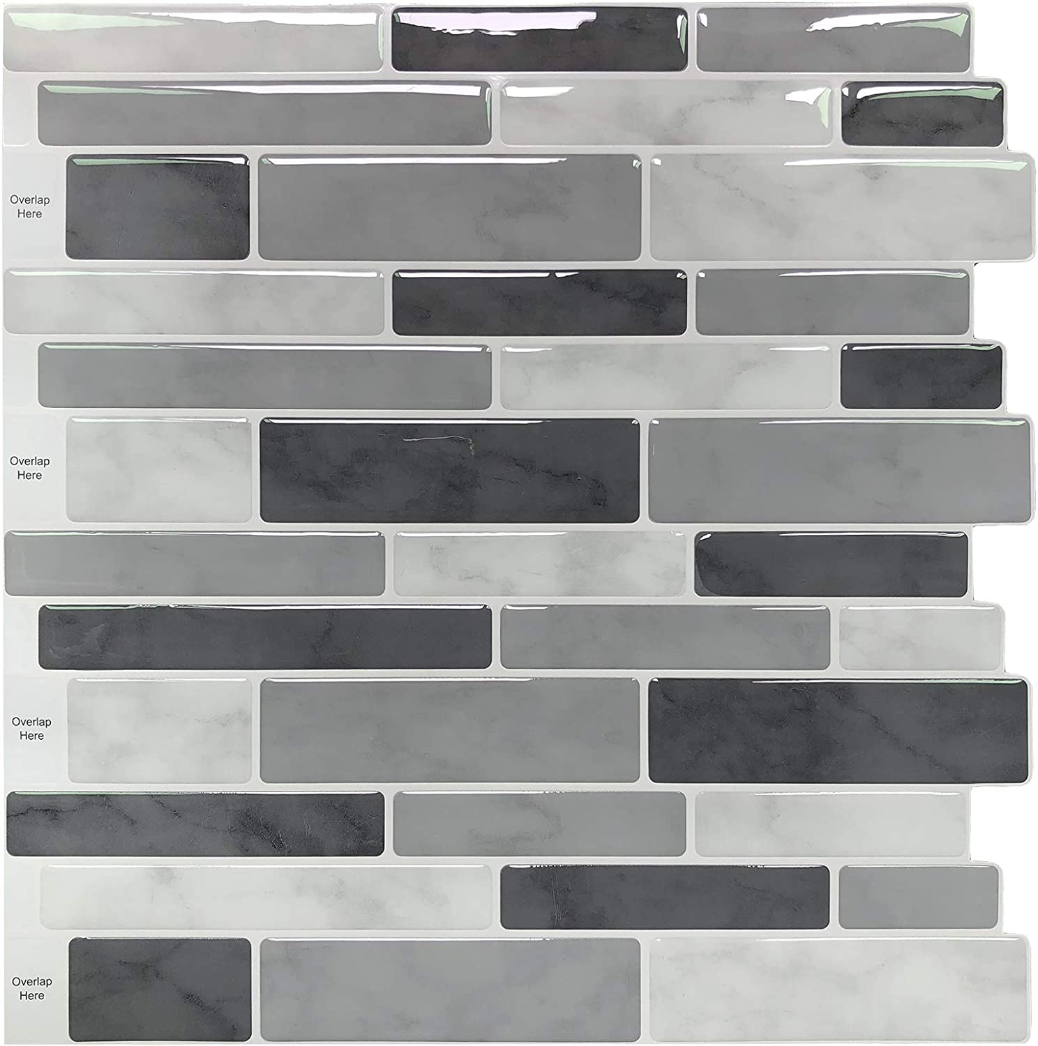 Peel Stick Backsplash Tile For Kitchen Gray Decorative Tile 10 Sheets Amazon Com