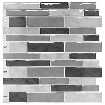 LONGKING Peel & Stick Backsplash Tile for Kitchen, Gray Decorative Tile (10  Sheets)