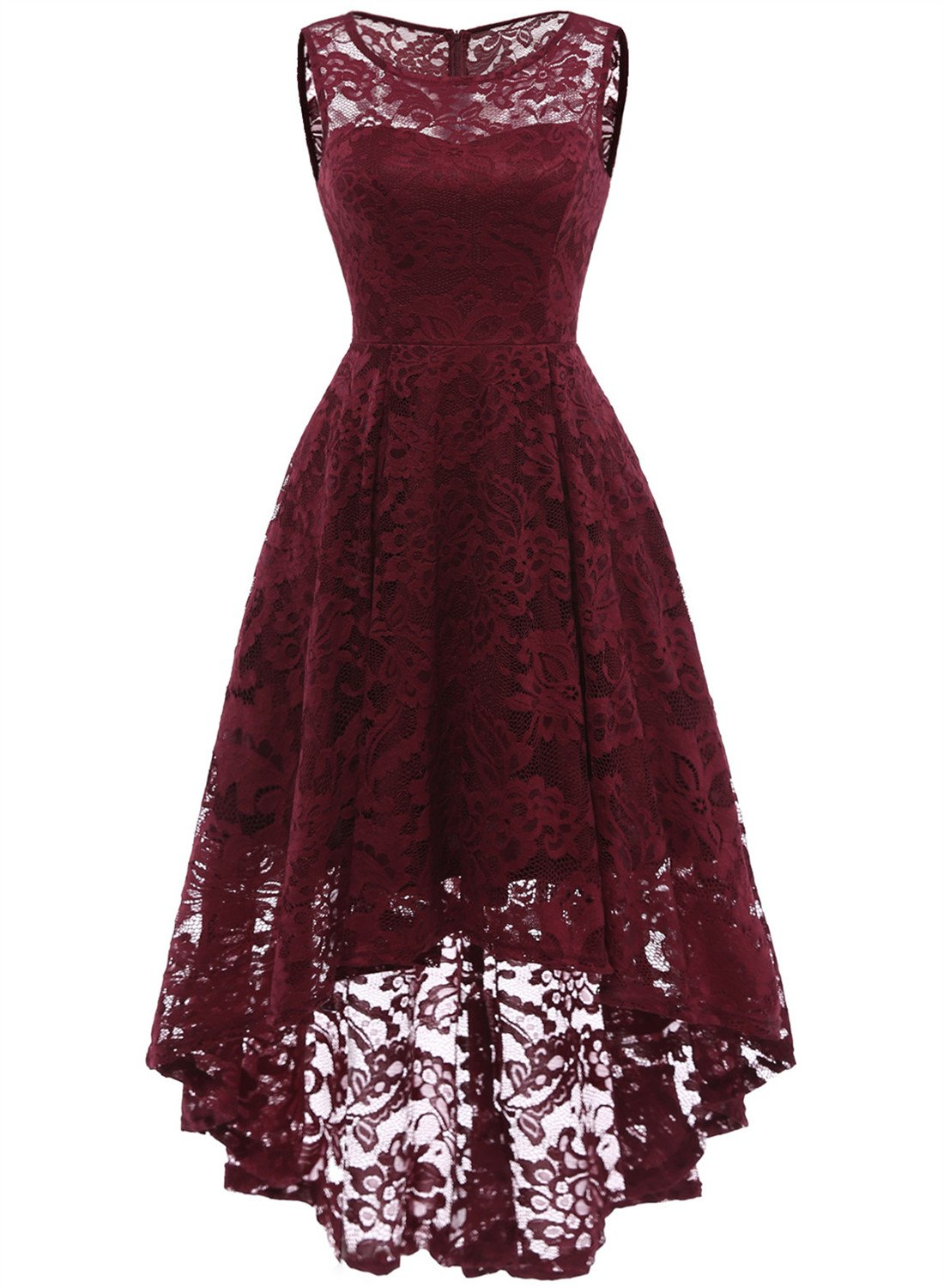 MUADRESS 6006 Women's Vintage Floral Lace Sleeveless Hi-Lo Cocktail Formal Swing Dress Burgundy 2XL