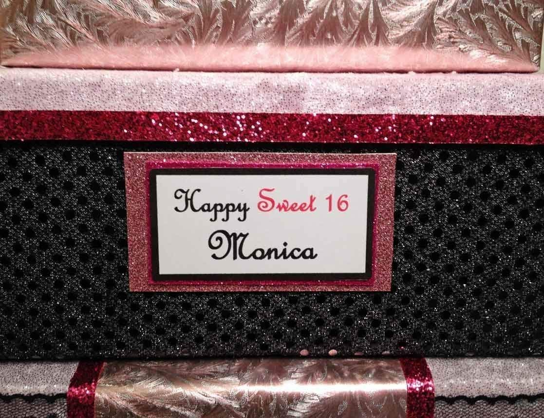 feathers three tiers Sweet 16 Quinceanera Card Box All The Best Card Boxes black personalized hot pink