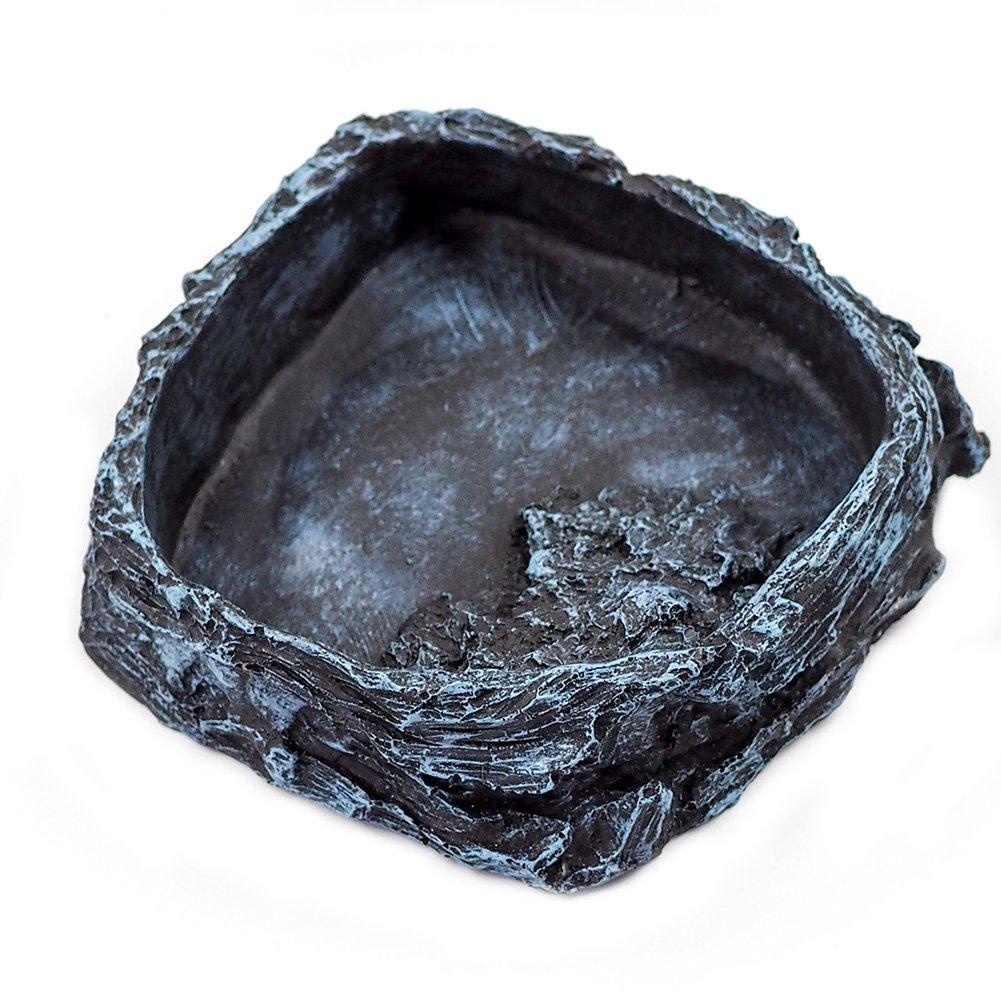 (Black) OMEM Reptile Natural Bowl Food and Water Dish Resin Made