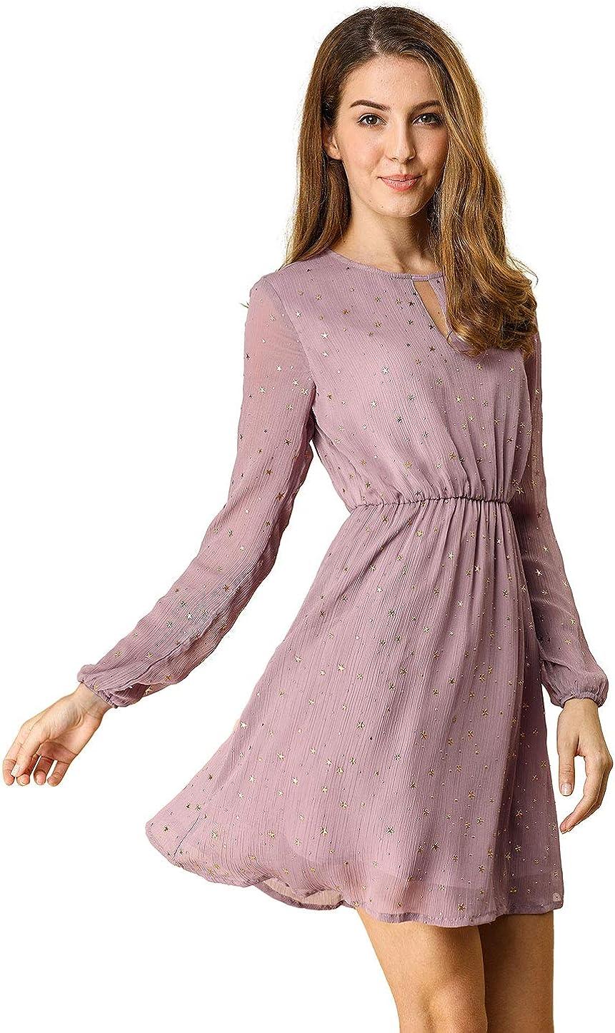 Allegra K Women's Choker V Neck Vintage Flared Gilding Metallic Shiny Star A-Line Dress