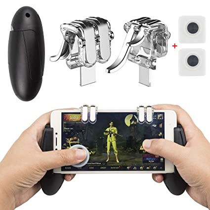Mobile Game Controller, EAONE 2 in 1 Gamepad Joysticks L1R1 Aim Trigger  Fire Buttons Sensitive Shoot with 2Pcs Joystick Controllers for PUBG/Rules  of