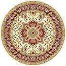 Safavieh Lyndhurst Collection LNH330A Traditional Oriental Medallion Ivory and Red Round Area Rug (8' Diameter)