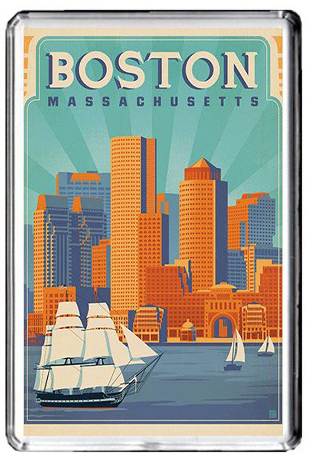 CFL B419 BOSTON USA FRIDGE MAGNET USA VINTAGE TRAVEL PHOTO MAGNETICA CALAMITA FRIGO