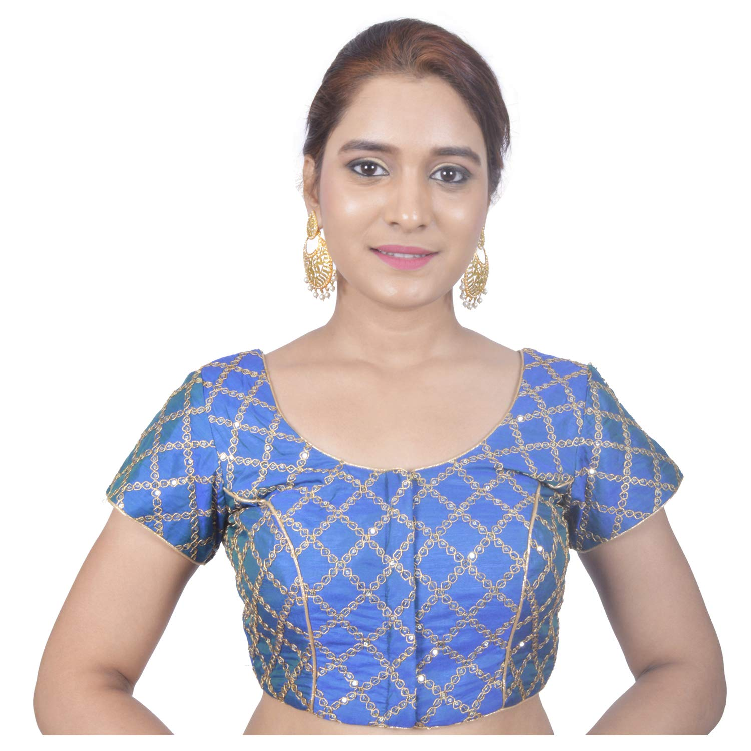 166f717b001 Biyu Womens Banglori Silk Green Sequence Embroided Designer Princess Cut Cap  Sleeves Padded Readymade Saree Blouse(Embroidered Blouse)  Amazon.in   Clothing ...