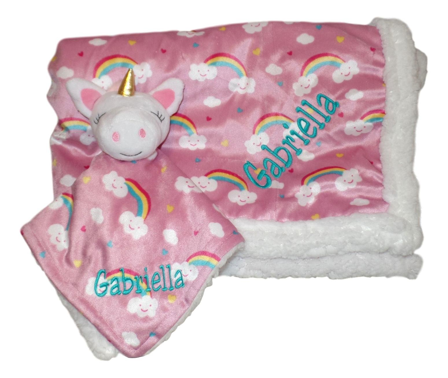 Plush Custom Embroidery Name Baby Blanket (30 x 40 inch) With Lovey Blanket - Excellent Gift Idea (Custom Embroidery Pink Unicorn)