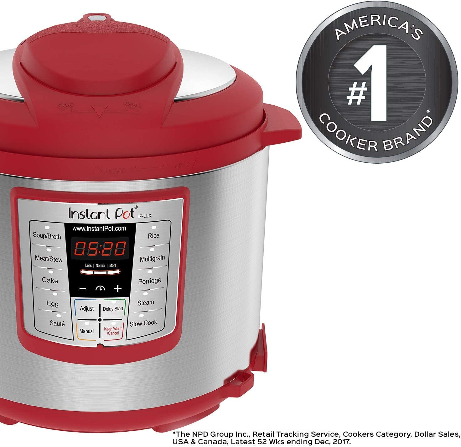Instant Pot Lux 6 Qt Red 6-in-1 Muti-Use Programmable Pressure Cooker, Slow Cooker, Rice Cooker, Sauté, Steamer, and Warmer (Renewed)