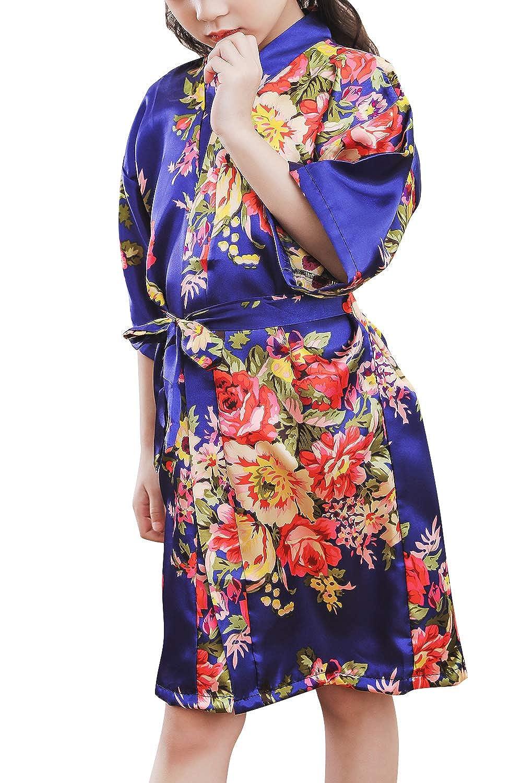 Peon/ía Flores Robe Albornoz Ropa de Dormir Pijama SPA nataci/ón cumplea/ños Qemsele Ni/ños Ni/ña Vestido Kimono Sat/én Camis/ón para Ni/ña