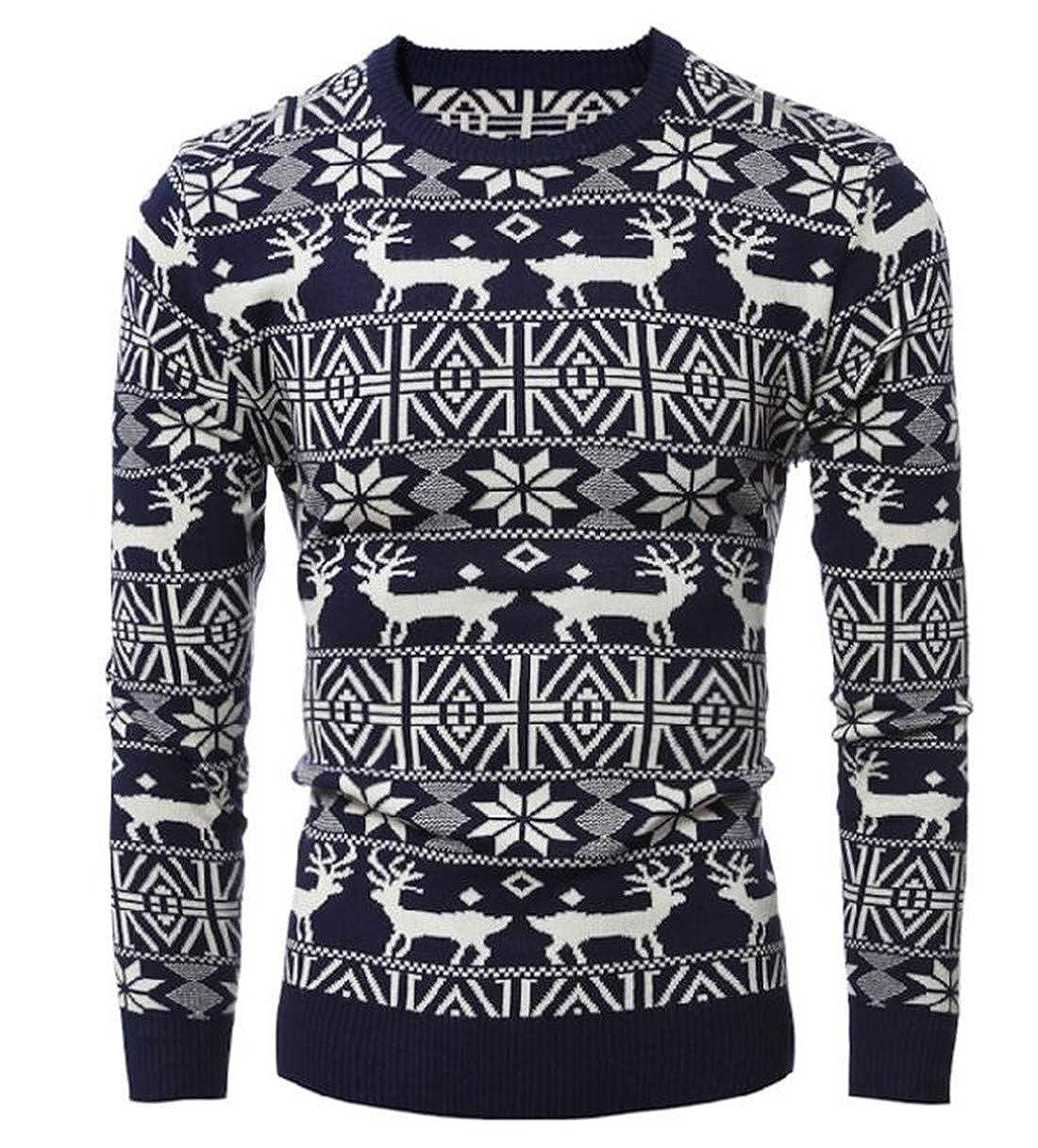 GRMO Men Christmas Xmas Snowflake Print Long Sleeve O-Neck Knit Sweater