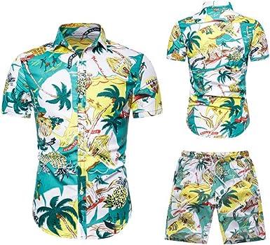 Traje de Camisa para Hombre de Gran Tamaño Moda Casual Playa Hawaiana Estampado con Camisa de Manga Corta Pantalones Cortos