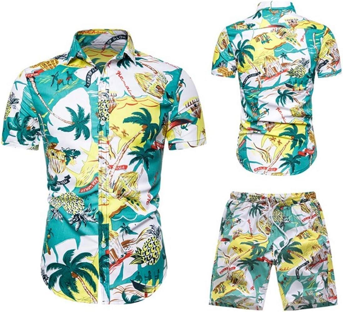 Traje de Camisa para Hombre de Gran Tamaño Moda Casual Playa Hawaiana Estampado con Camisa de Manga Corta Pantalones Cortos, Green, S: Amazon.es: Ropa y accesorios
