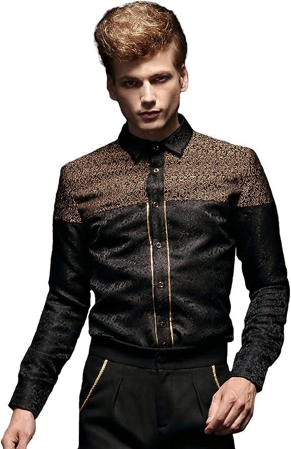 FANZHUAN Camisas Negra Camisa Negra Manga Larga Botones Negros Camisa Camisas Hombre Joven: Amazon.es: Ropa y accesorios
