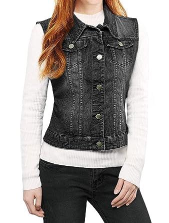 6cf695ae917480 Allegra K Women s Buttoned Washed Denim Vest Jacket w Chest Flap Pockets  Black XS (US