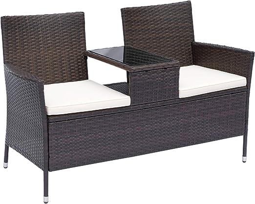 Outsunny Banc de Jardin Design Contemporain 133L x 63l x 84H cm Banc Double  Chaise avec Coussins Assise + Tablette intégrée résine tressée Chocolat ...