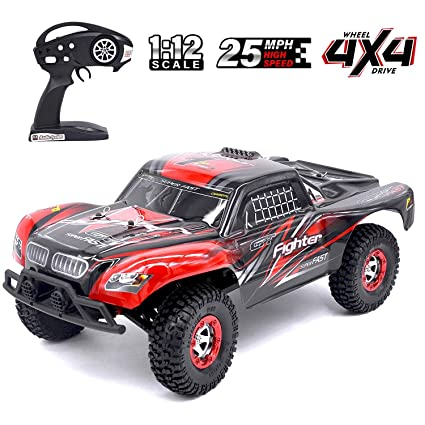 Tecesy RC Car Fighter-1 1:12 4WD 2 4G Full Scale High Speed RC Buggy  Off-Road Short Course Truck (Red)