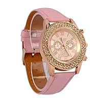 Womens Geneva Quartz Watches,Ulanda-EU Crystal Roman Analog Clearance Lady Wrist Watch Female watches on Sale Watches for Women,Round Alloy Dial Case Comfortable PU Leather Wristwatch u13