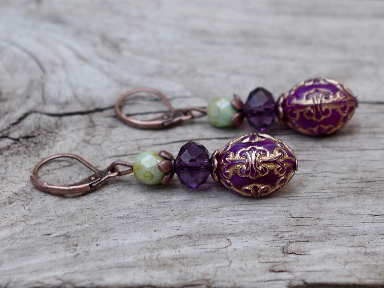 aubergine lila Vintage Ohrringe mit b/öhmischen Glasperlen /& Kunststoffperlen khaki /& kupfer DIE LETZTEN!