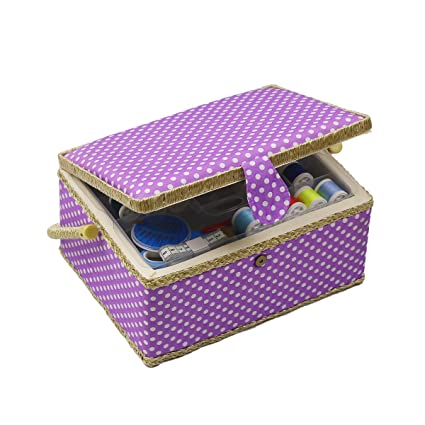 Leopardprintfans Mini Professional Wooden Sewing Basket and Sewing Kit Set with Wooden Box Premium Sewing Kit Accessories for DIY Beginners Emergency Home Travel