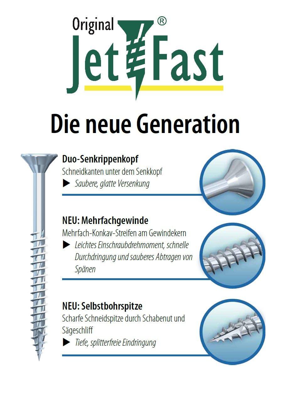 Gelb-verzinkt Torx Duo-Senkkopf Selbstbohrspitze Original Jet-Fast Universalschrauben Set 1700 Teilig