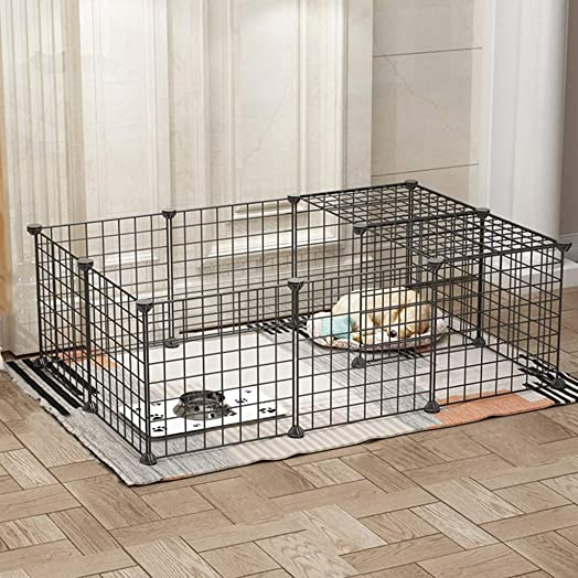 m kvfa Metal Pet Playpen Dog Kennel Pets Fence Exercise Cage Puppy Cat Exercise Fence Barrier 16 Panels Indoor Outdoor
