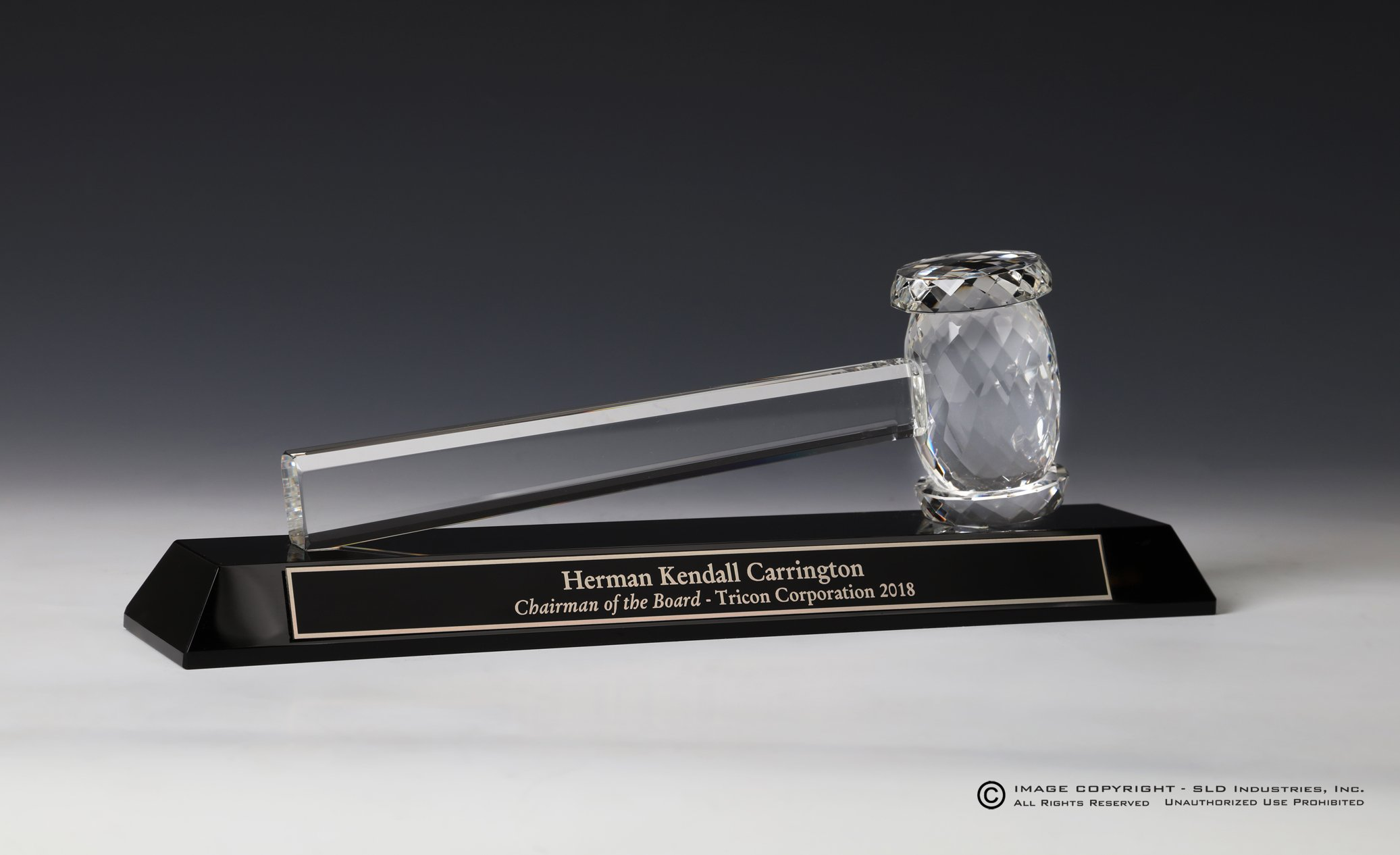 Gavel Cut Crystal on Black Crystal Presentation Block, Custom Engraved, Lawyer Gift, Judge Gift, Mayor Gift, City Council Gift