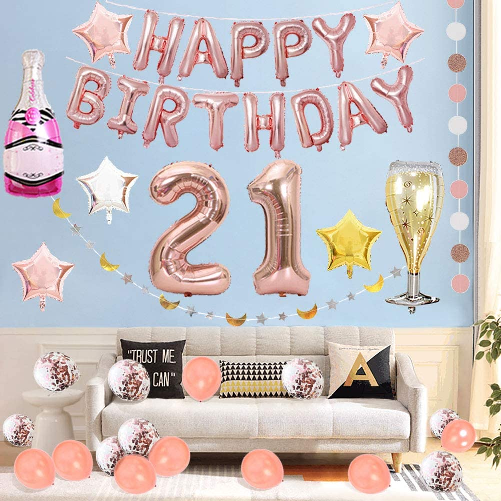 Includes 21st Birthday Balloon LOCCA 21st Birthday Decorations for Her Girl Rose Gold Party Decorations Supplies Kit Happy Birthday Banner Champagne Balloon for Finally Legal 21 Birthday Party