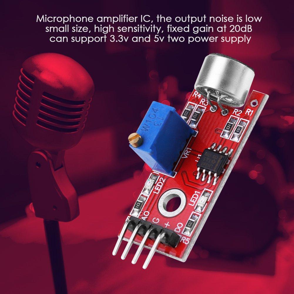sortie gain 20 dB faible bruit CC 3.3V // 5V 【Sp/écial Nouvel An 2021】Module de carte damplificateur de microphone module damplificateur de son audio de haute sensibilit/é pour microphone