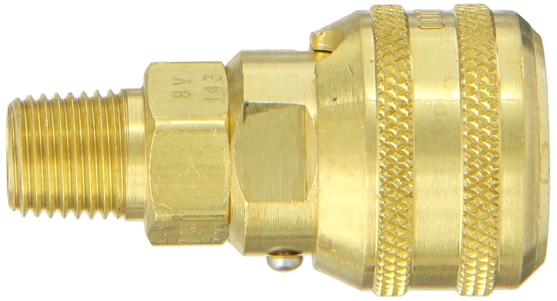 Fluorocarbon Seal Sleeve Lock Socket with Brass Valve 1//4 Body 1//4 Port Size Eaton Hansen 3100BVSL143 Brass ISO-B Interchange Pin Lock Pneumatic Fitting 1//4-18 NPTF Male