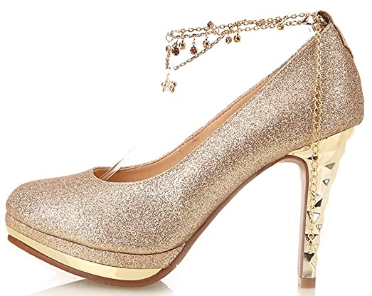 YooPrettyz Women Round Toe Shoes Ankle Strap Wedding Platform Bridal Pumps Stiletto Gold 3