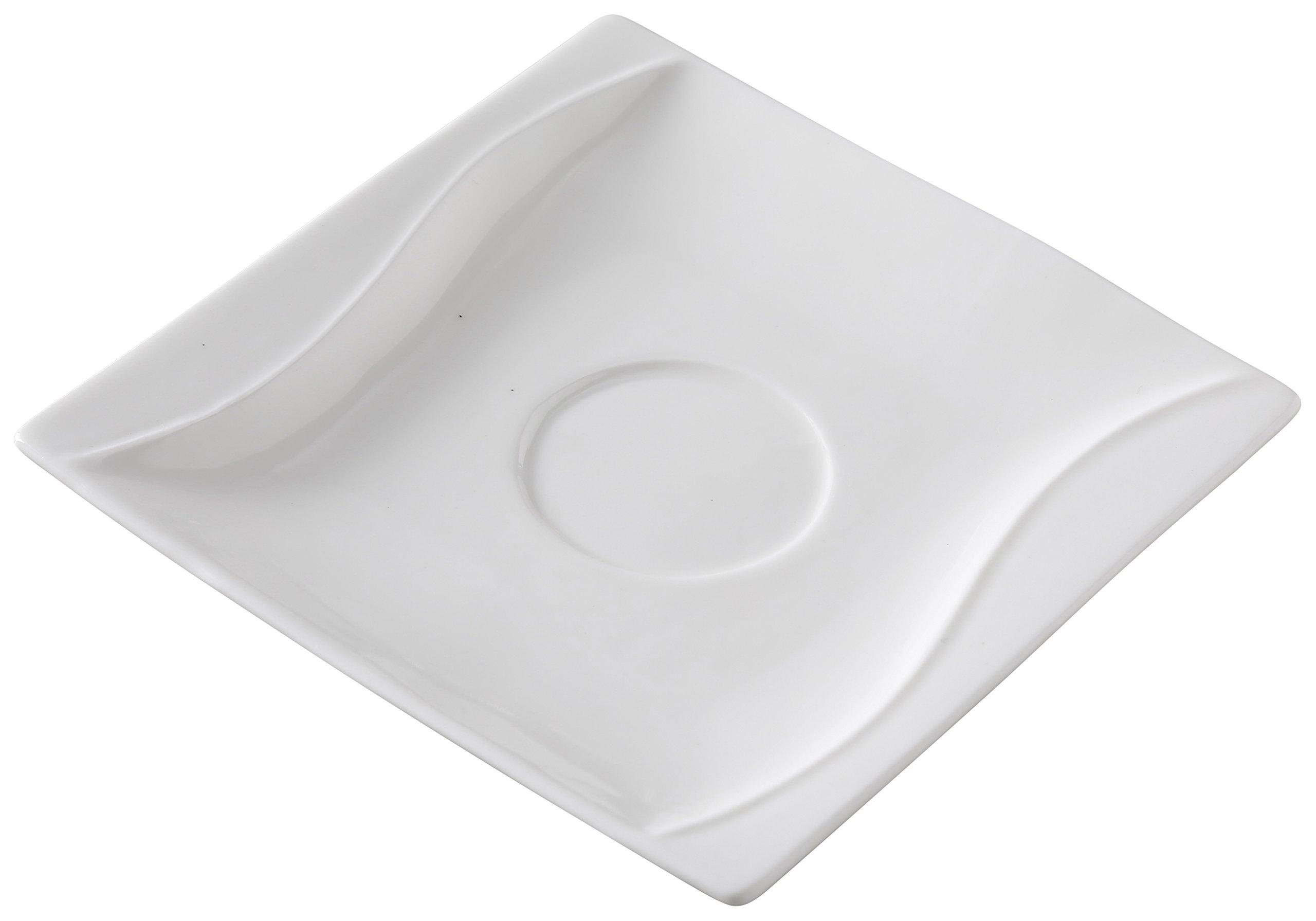 Yanco SW-002 5.5'' Saucer, Square, Porcelain, Bone White, Pack of 36