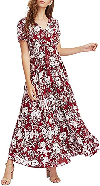 ZEZKT elegancka sukienka damska, sukienka maxi, sukienka boho, sukienka plażowa, z dekoltem w kształcie litery O, sukienka letnia, z krÓtkim rękawem, sukienka na imprezę, modna sukienka wieczorowa, su