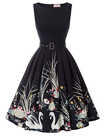 97ff6bda826f3 Belle Poque Women s Crew Neck A Line Cocktail Dress with Belt Floral Size S  BP897-
