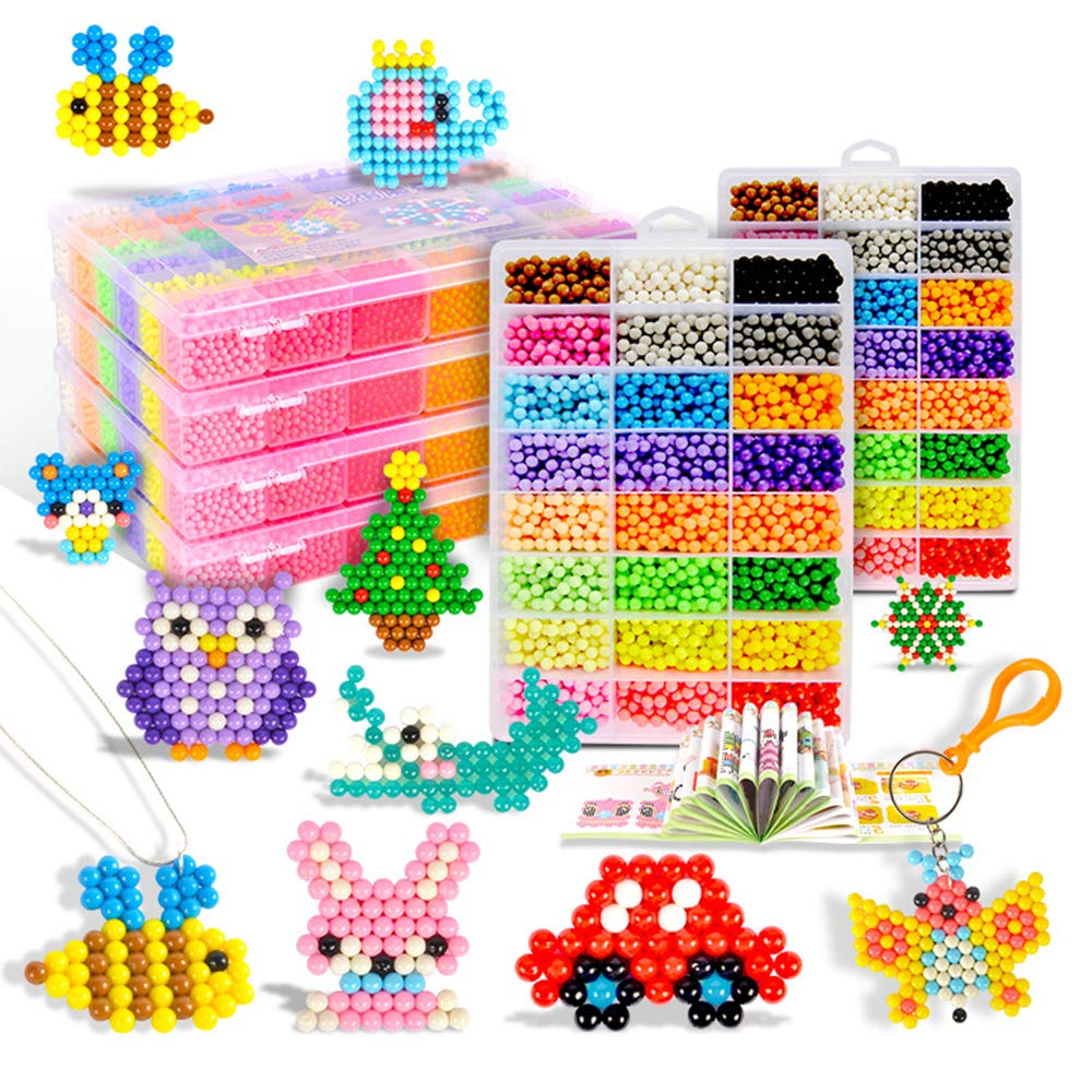 Aqua water beads Beginners Studio perler fusion Craft beads for kids non toxic with bead palette and layout table, bead pen, bead peeler, sprayer, template sheets and instructions-15 colors(2400pcs) XUANYUN