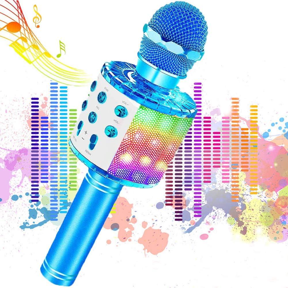 Microfono Inalámbrico Karaoke, JoyKing Micrófono Karaoke Bluetooth Infantil Portátil con Altavoz y LED para Niños Canta Partido Musica Compatible con Android/iOS PC, AUX o Teléfono Inteligente (Azul)