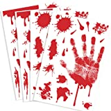 Kuuqa 4 Pcs Bloody Handprint Clings Horror PVC Stickers Decals for Halloween Decorations
