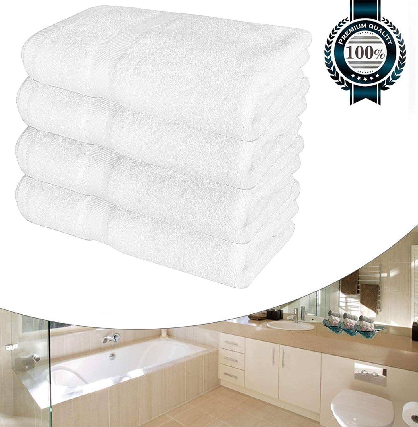 CASA COPENHAGEN Luxury White Bath Towels for Bathroom-Hotel-Spa-Kitchen-Set - Circlet Egyptian Cotton - Highly Absorbent Hotel Quality Towels - 27x54 Inch - Bulk Set of 4