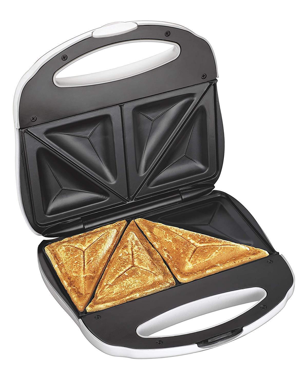 J-Jati Sandwich Maker, Panini Press + Electric Sandwich Maker Toasting, Grilling, Waffles, Omelettes, Breakfast, Lunch, dinner, Sandwich Toaster, white by J-JATI