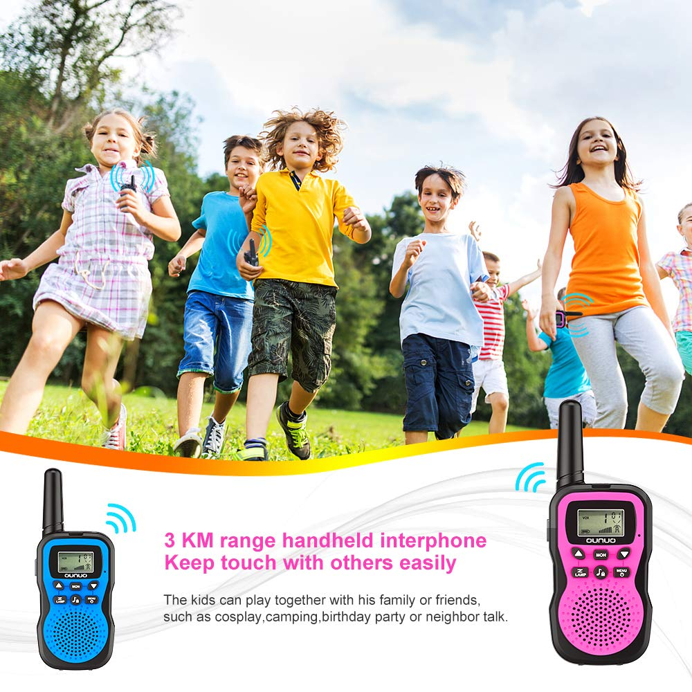 OUNUO Kids Walkie Talkies, 4 Miles Range Walkie Talkies for Kids 22 Channels 10 Customized Ringtones with Flashlight for Outdoors Good Parenting Toys - 1 Pair by OUNUO (Image #2)