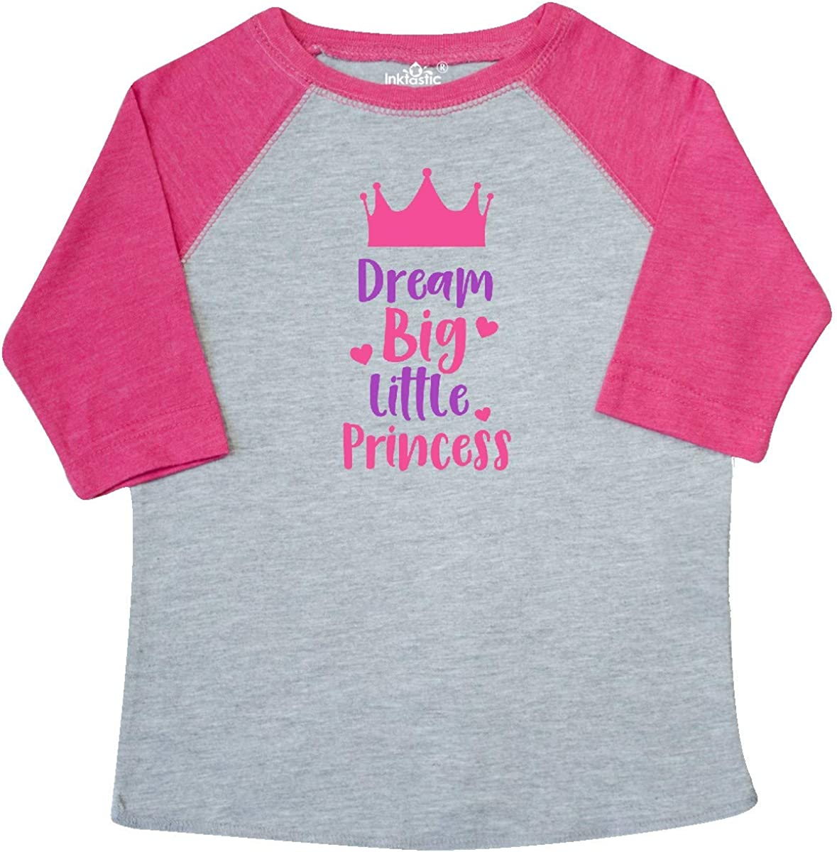 inktastic Dream Big Little Princess Crown Pink Purple Toddler T-Shirt