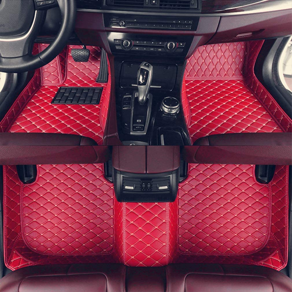 8X-SPEED Custom Car Floor Mats for BMW 3 Series Sedan F30 316i 318i 320i 328i 330i 2013-2017 2014 2015 2016 Full Coverage All Weather Protection Waterproof Non-Slip Leather Liner Set Red
