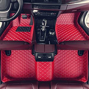 8X-SPEED Custom Car Floor Mats for BMW 3 Series Sedan E90 318i 320i 325i 330i 335i 2008-2012 2009 2010 2011 Full Coverage All Weather Protection Waterproof Non-Slip Leather Liner Set Red