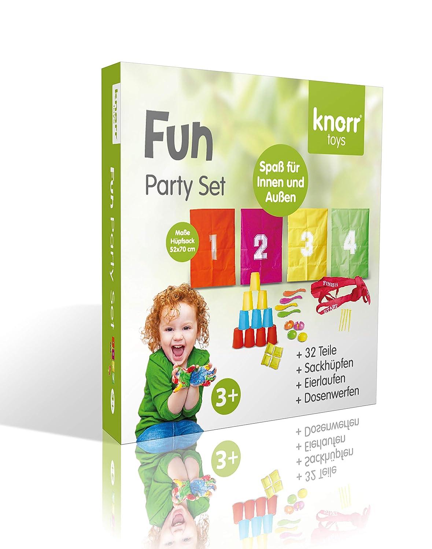 Sackh/üpfen, Eierlaufen und Dosenwerfen Knorrtoys.com 56000 Knorrtoys 56000-FUN 32-teilig Party Set