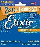 Elixir エリクサー エレキギター弦 2セット+1ボーナスセット NANOWEB Super Light .009-.042 #16540 (12002 3個セット) 【国内正規品】