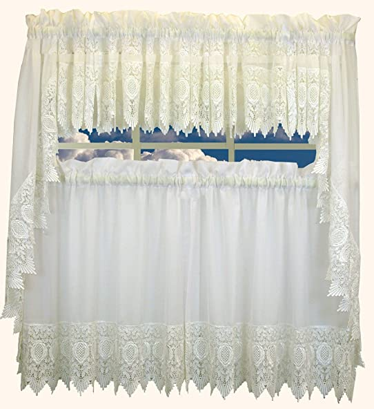 Diana White Swag Curtain Pair