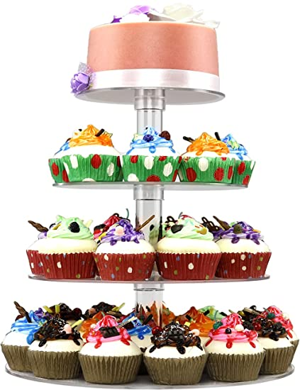 Amazon.com | DYCacrlic Acrylic 4-Tier Round Cupcake Stand Display ...