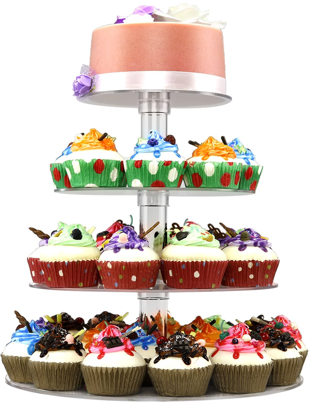 DYCacrlic Acrylic 4-Tier Square Stacked Party Cupcake Stand, Dessert Holders Cupcake Tree - Tiered Cake Stand/Cupcake Tower (4 Tier Round Tube)
