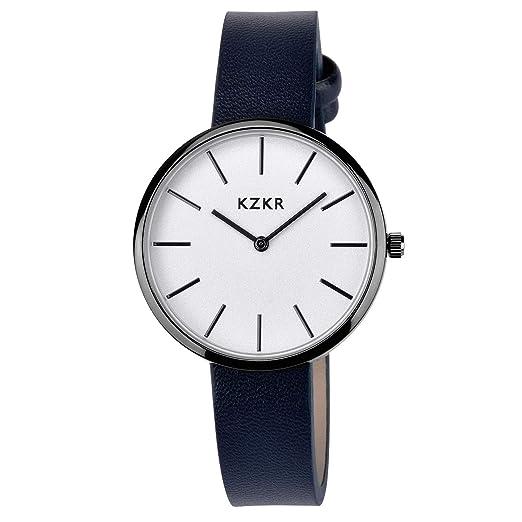 KZKR - Reloj de Pulsera para Mujer, clásico, Fino, de Cuarzo, analógico, con Correa de Piel Azul Marino: Amazon.es: Relojes