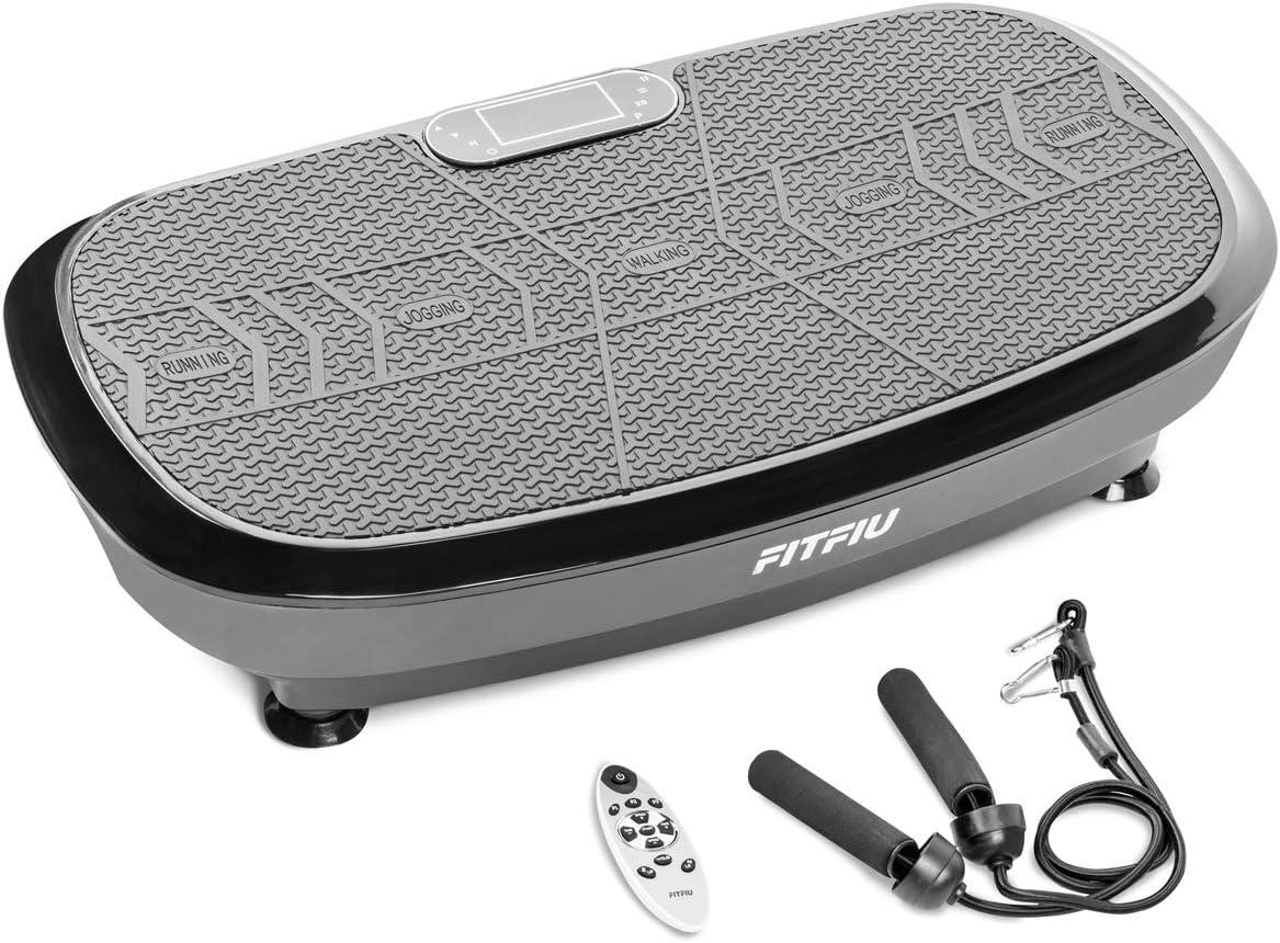 FITFIU Fitness PV-200 Plataforma vibratoria fitness con movimiento oscilante 3D color Negro, potencia de 1000w, con cuerdas elásticas y base antideslizante, Plataforma de entrenamiento completo